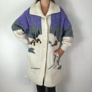 VINTAGE 80's Snow Christmas Cardigan Sweater M/L